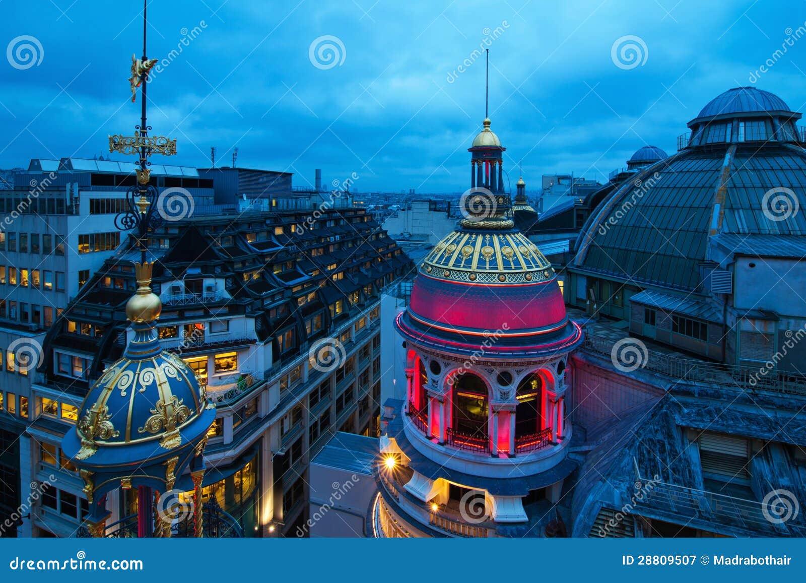 Parisian roofs at night