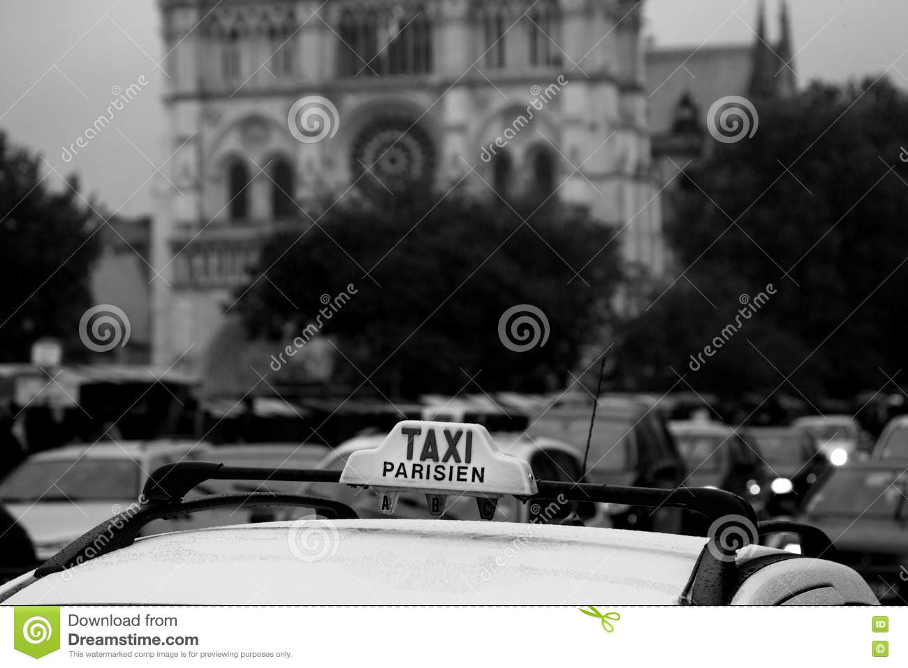 Parisian taxi on the streets of the city.