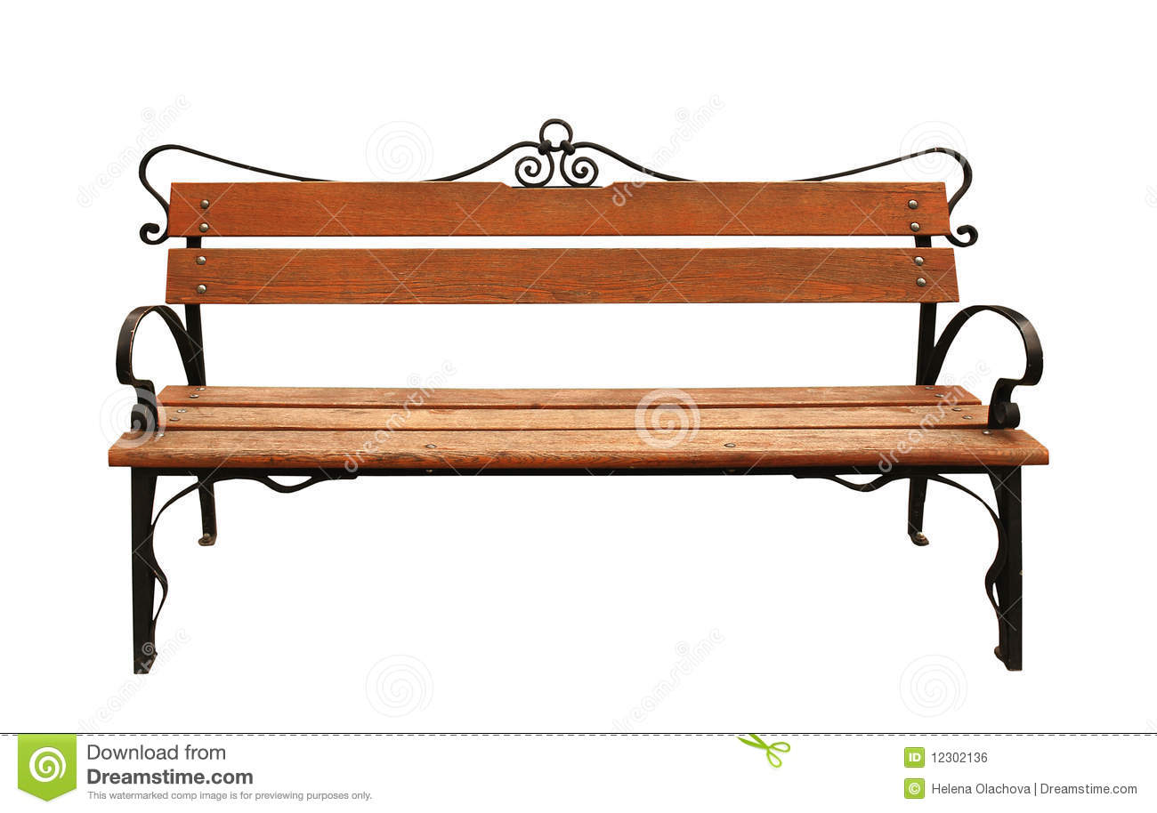 Park Bench Isolated on White Background.