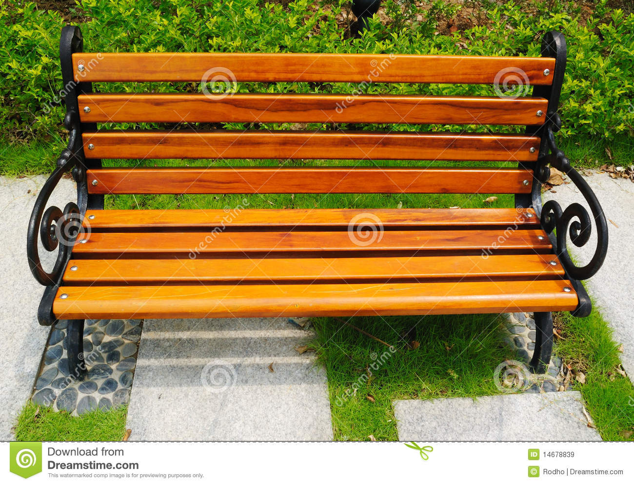 Wooden park bench at a park in China.