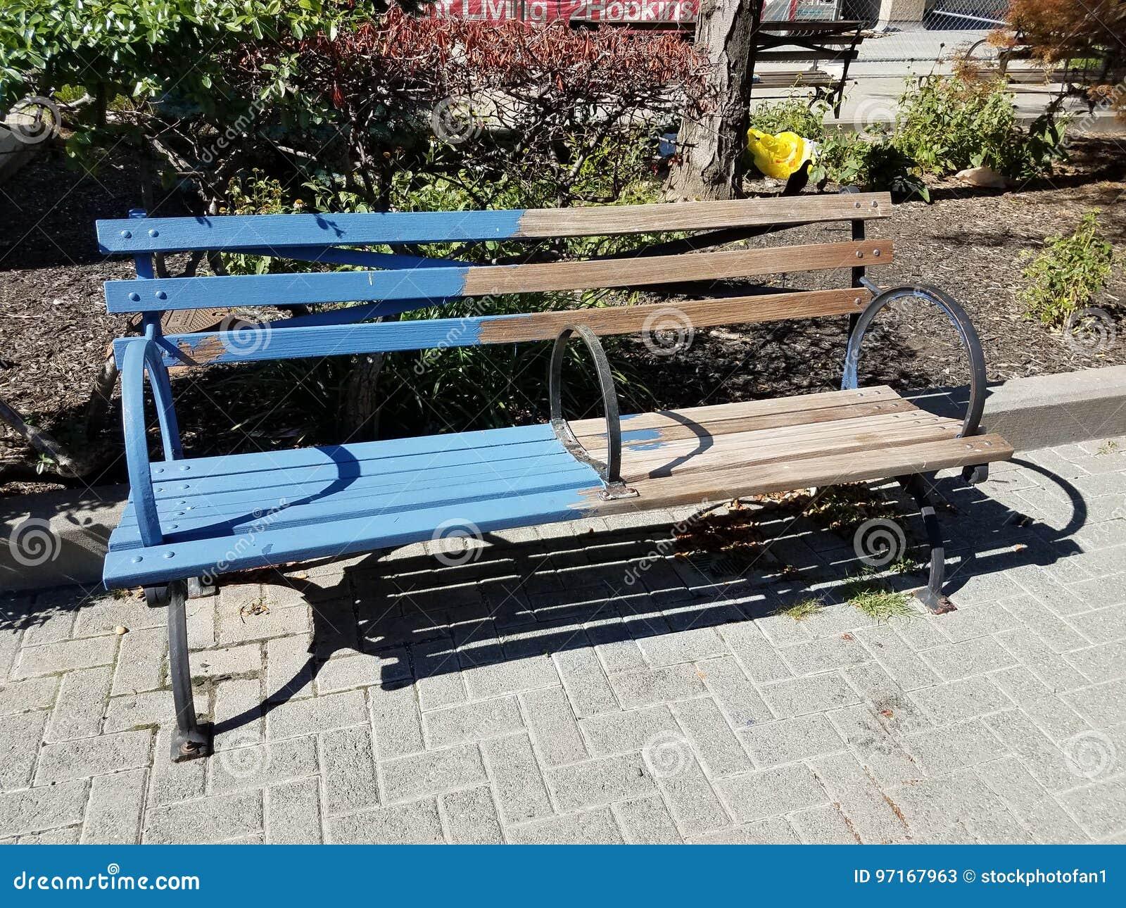 Park bench half painted blue