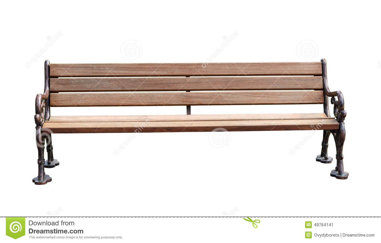 Park Bench Isolated Over White Background With Clipping