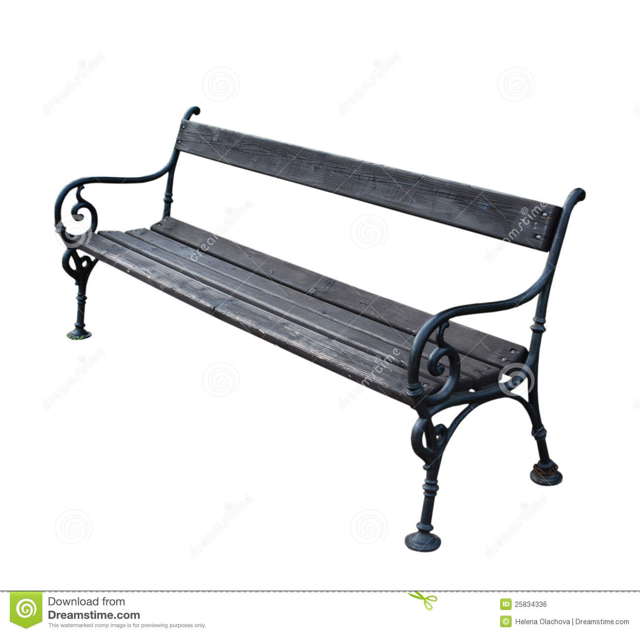 Park Bench Isolated On White Background Stock Photo