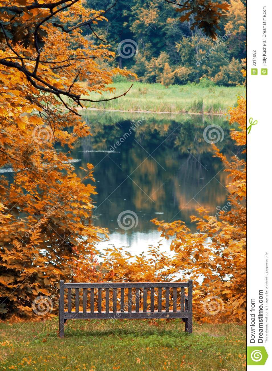 Park Bench By Lake In Autumn Stock Photography Image 3314082
