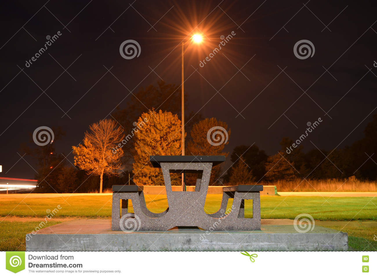 Park Bench At Night Stock Photo Image Of Outdoor Highway 81797012