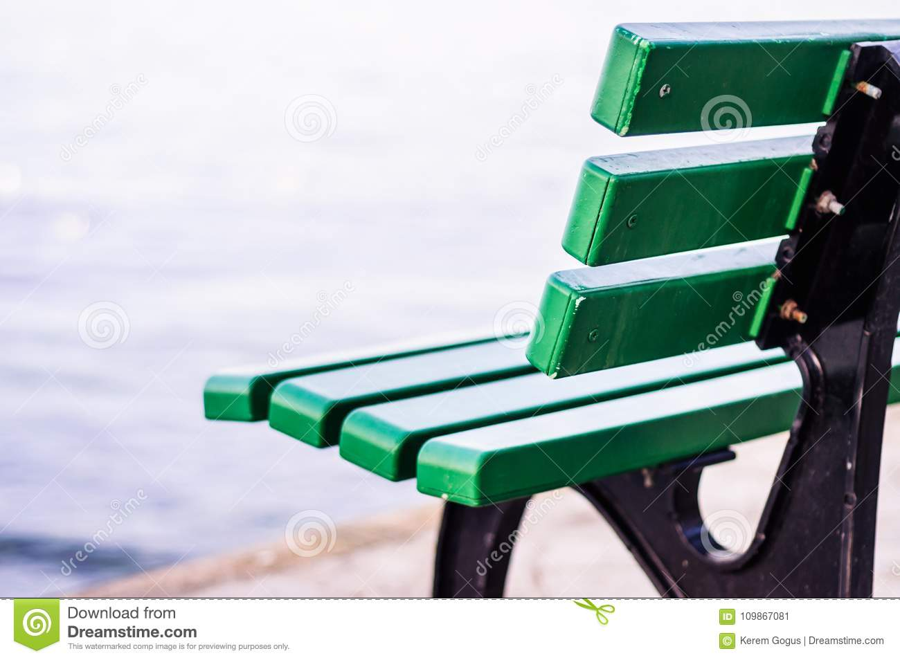 Enjoyable Park Bench On The Seaside With Soft Background Stock Image Andrewgaddart Wooden Chair Designs For Living Room Andrewgaddartcom