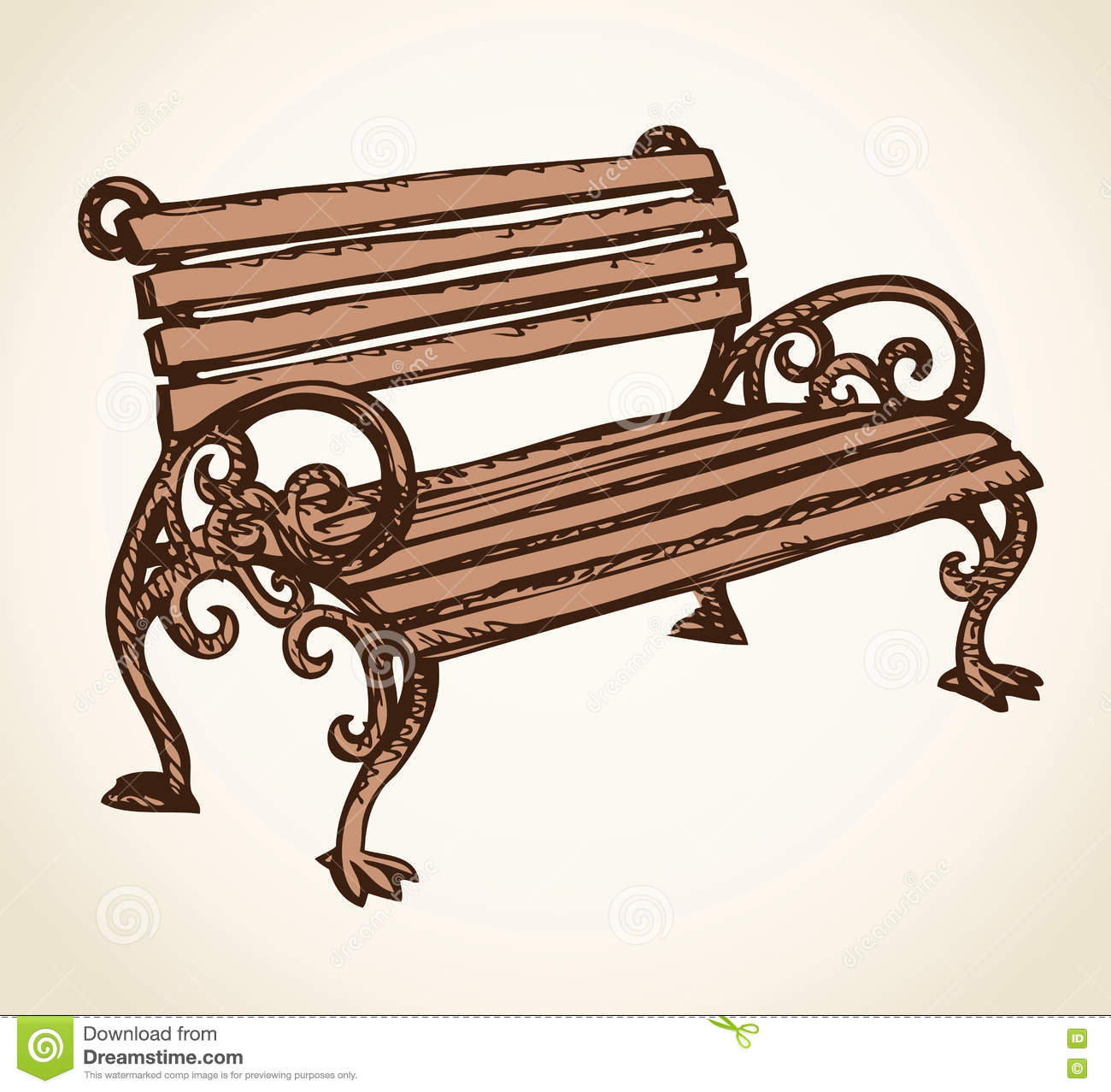 park bench vector drawing stock vector illustration of
