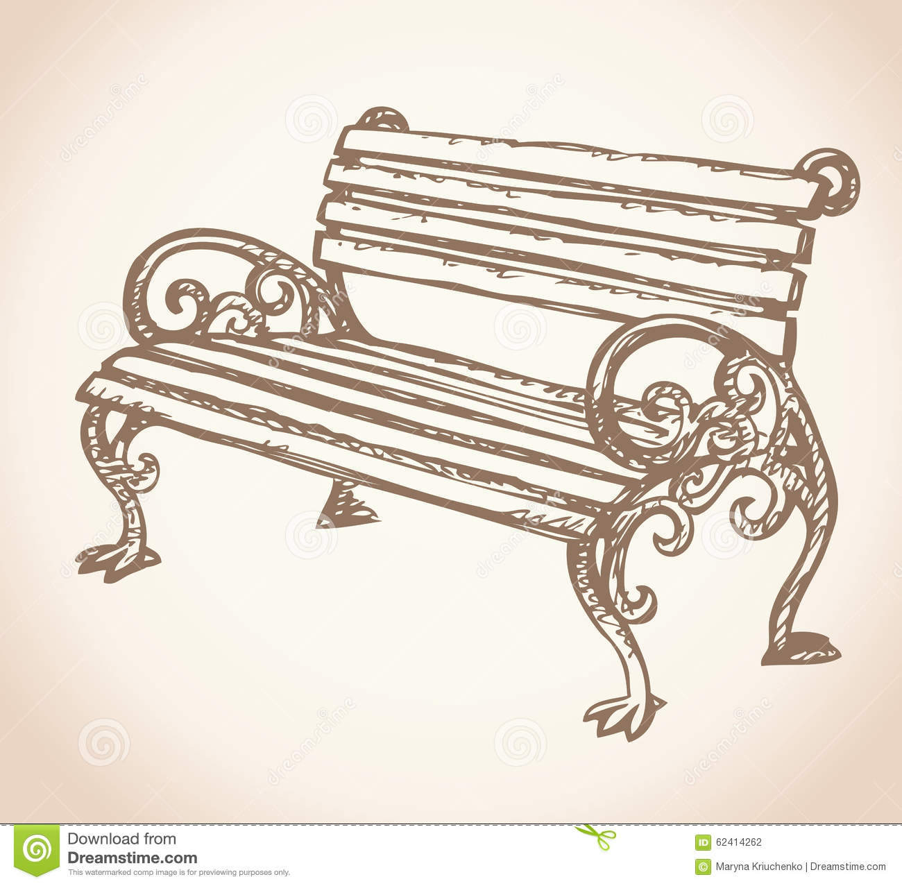 Park Bench Vector Drawing Stock Vector Image 62414262