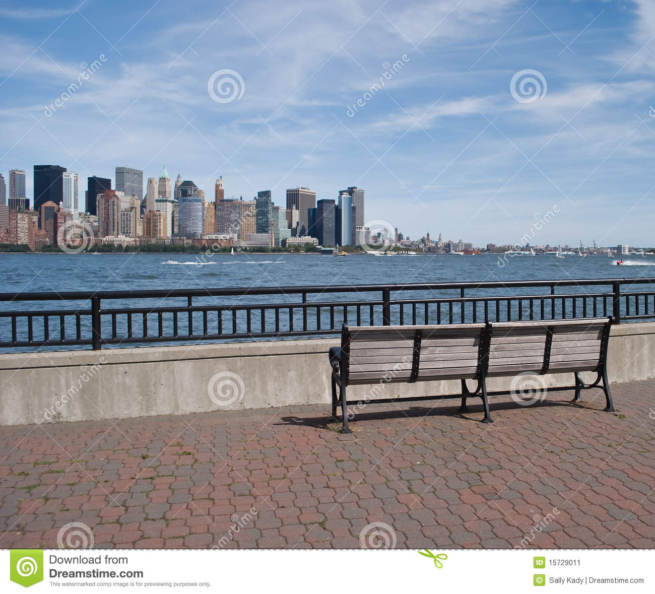 Park Bench And View Of New York City Skyline Stock Image Image Of