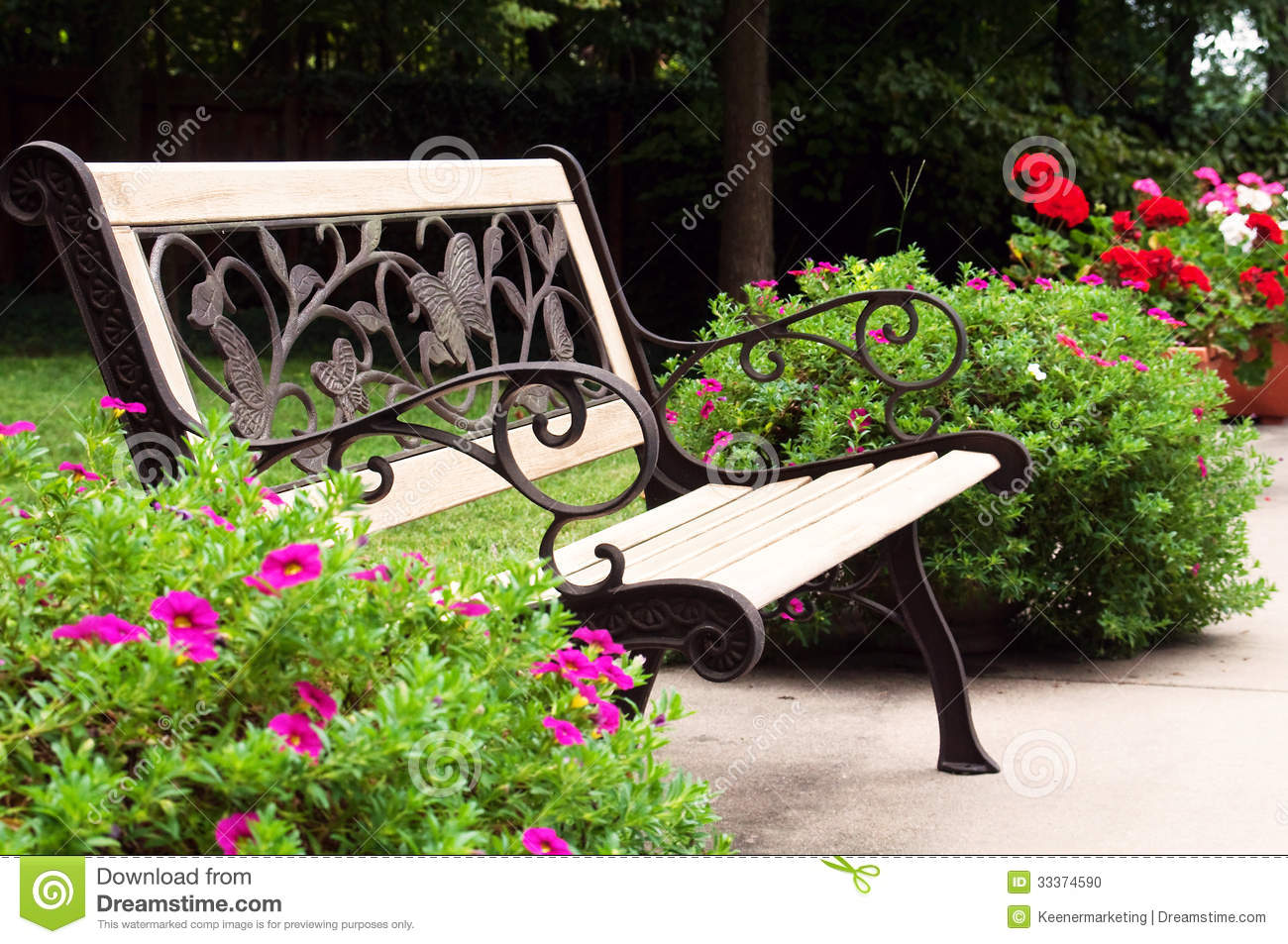 Park Bench Stock Photo Image 33374590