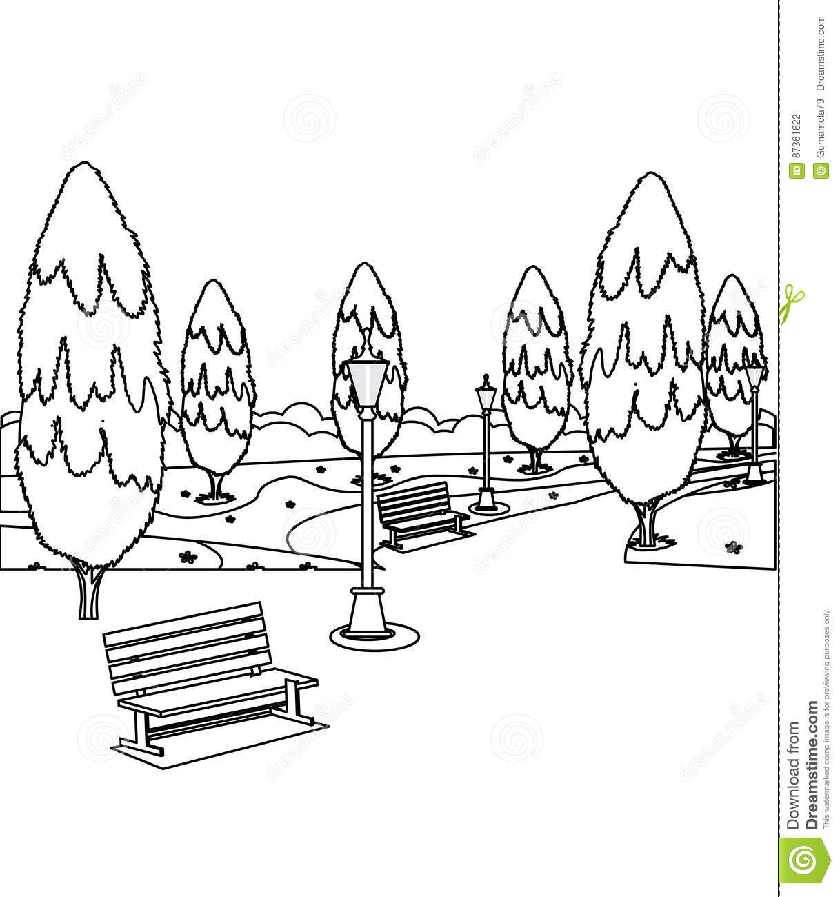 park with benches and trees coloring page