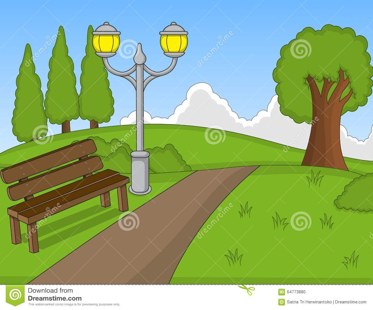 Park Cartoon With Bench Stock Vector - Image: 64773880
