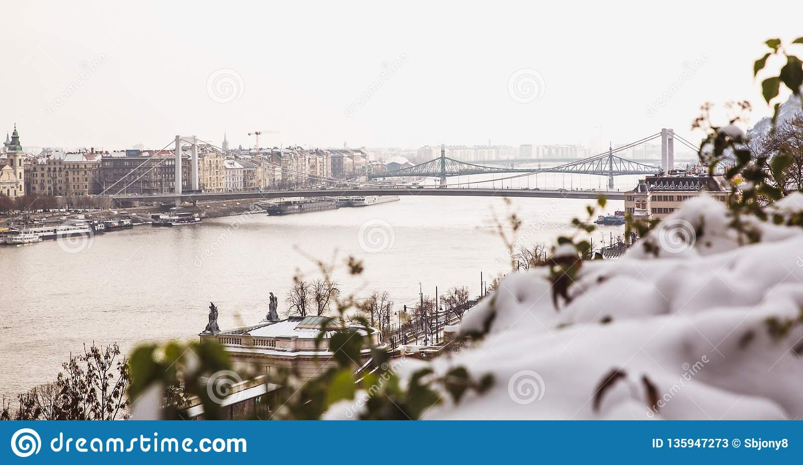 Park of citadel covered with snow, Buda Castle, Budapest , Hungary