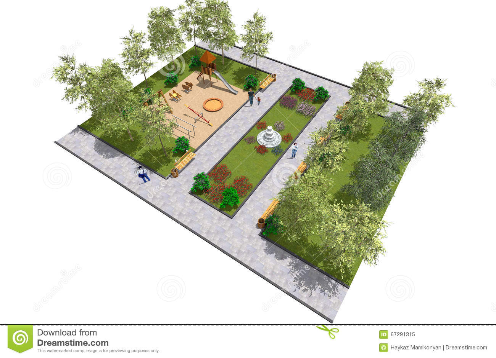 Park 3D mini stock illustration. Illustration of mininprogram - 67291315