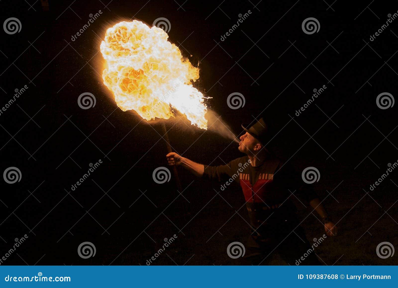 Park Entertainer Breathes Fire