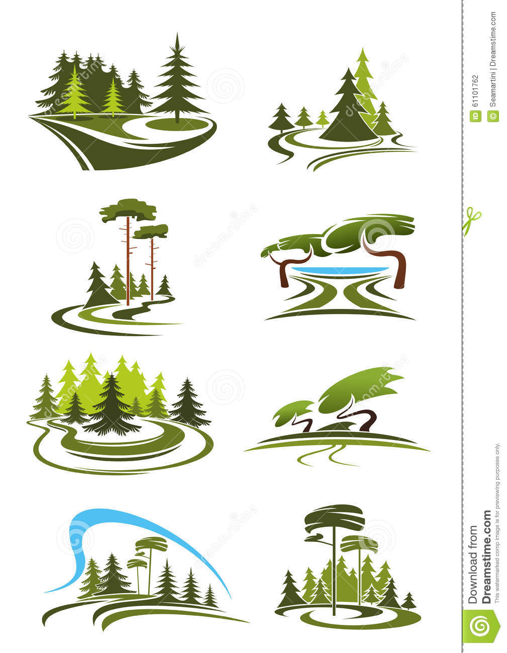 Park, Garden And Forest Landscape Icons Stock Vector