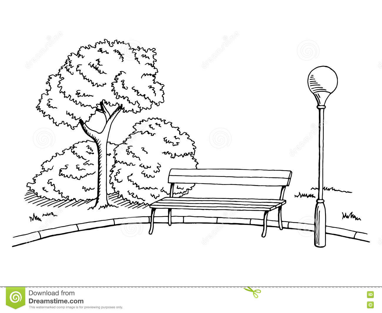 Program To Draw House Plans Park Graphic Art Black White Bench Lamp Landscape Sketch
