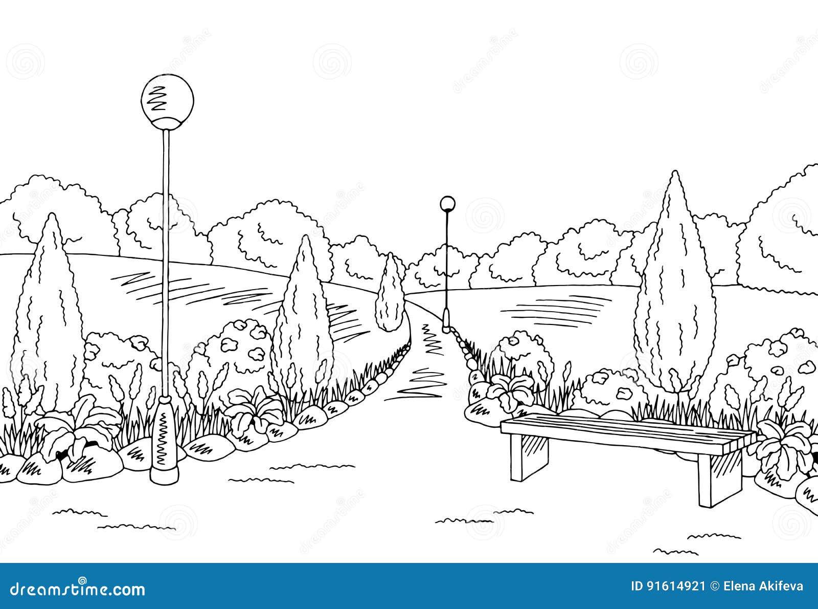 Sensational Park Graphic Black White Bench Lamp Landscape Sketch Squirreltailoven Fun Painted Chair Ideas Images Squirreltailovenorg