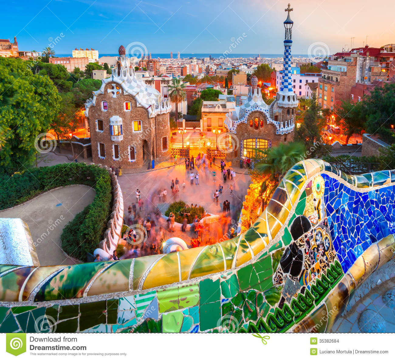 Park Guell In Barcelona Spain Stock Photo