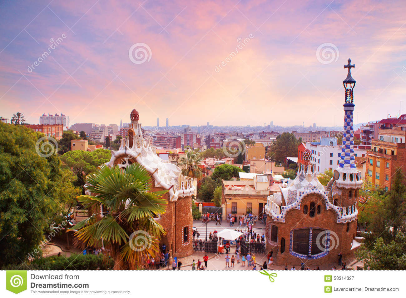 Courtyard Plans Park Guell In Barcelona At Sunset Stock Photo Image