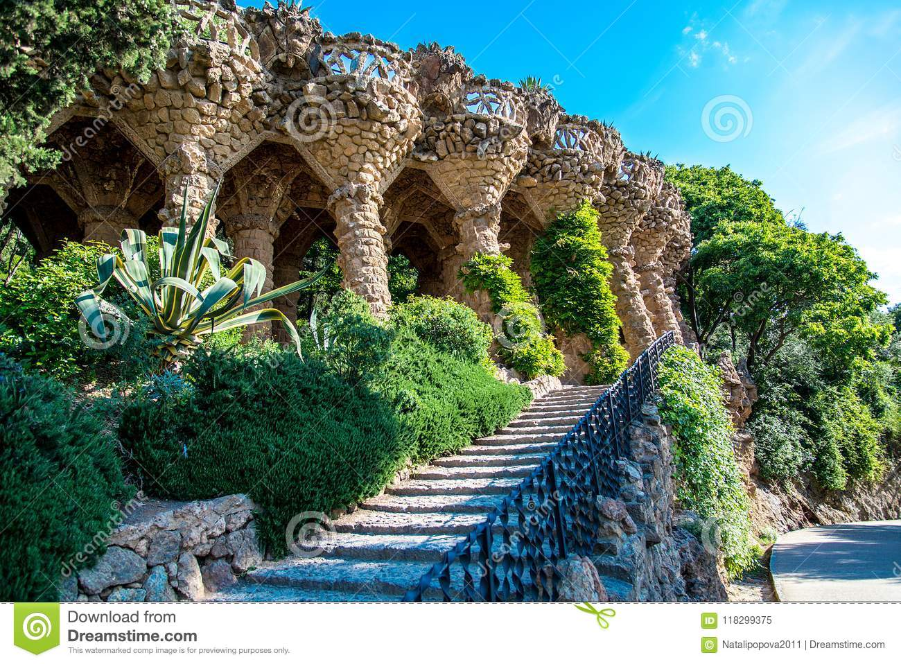 Park guell columns and viaducts, Barcelona, Spain - May 16, 2018.