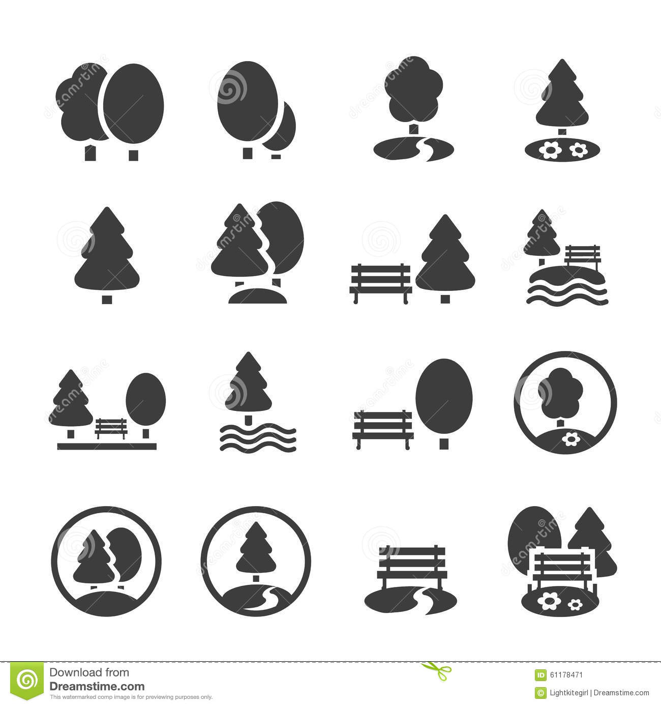 Park Icon Set. Trees, Forest, Vector Icons Stock Vector - Image ...