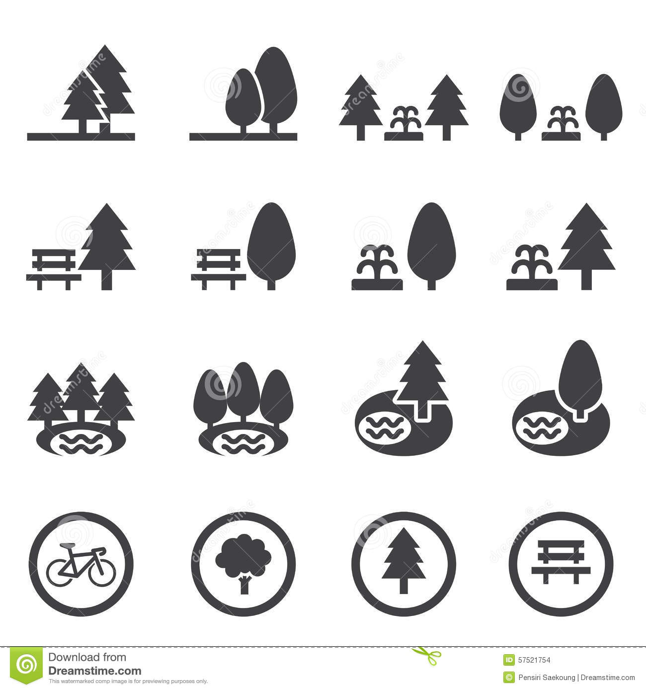 Park icon set stock vector. Illustration of chairs, power ...