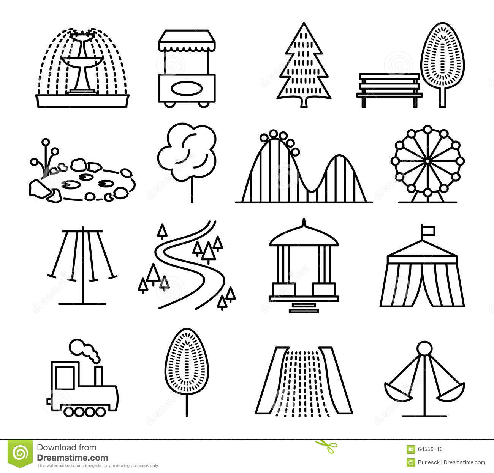 park playground set icons cartoon vector