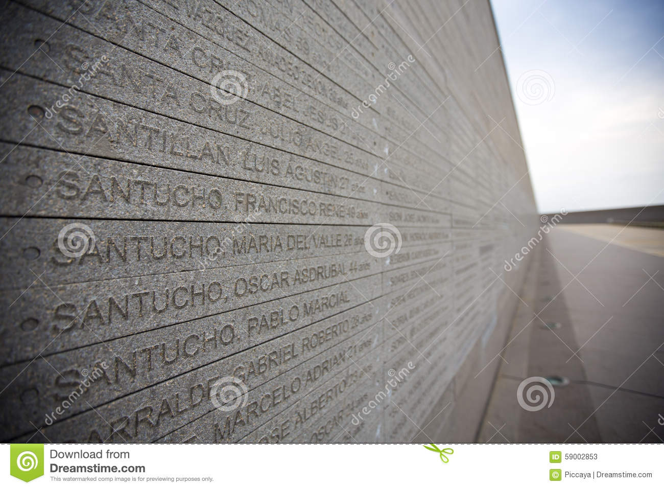 Memorial Park wall, with names of dictatorship's victims