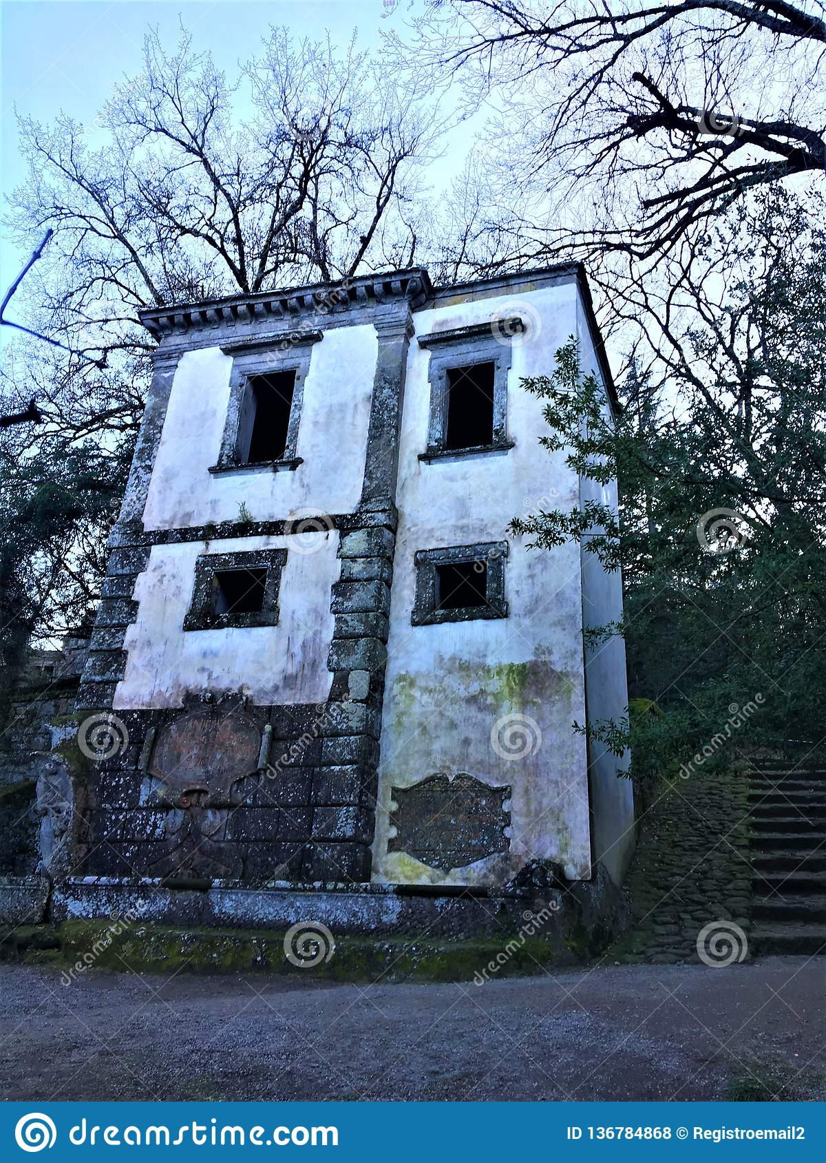 Park of the Monsters, Sacred Grove, Garden of Bomarzo. Leaning house and alchemy