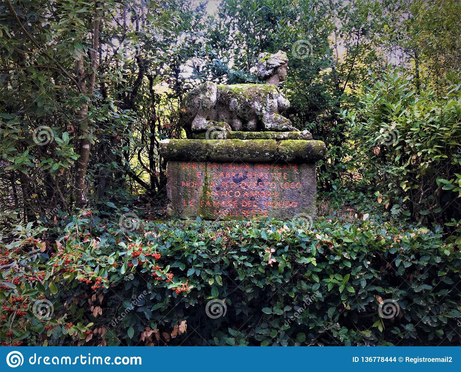 Park of the Monsters, Sacred Grove, Garden of Bomarzo. Sphinx, vegetation and alchemy