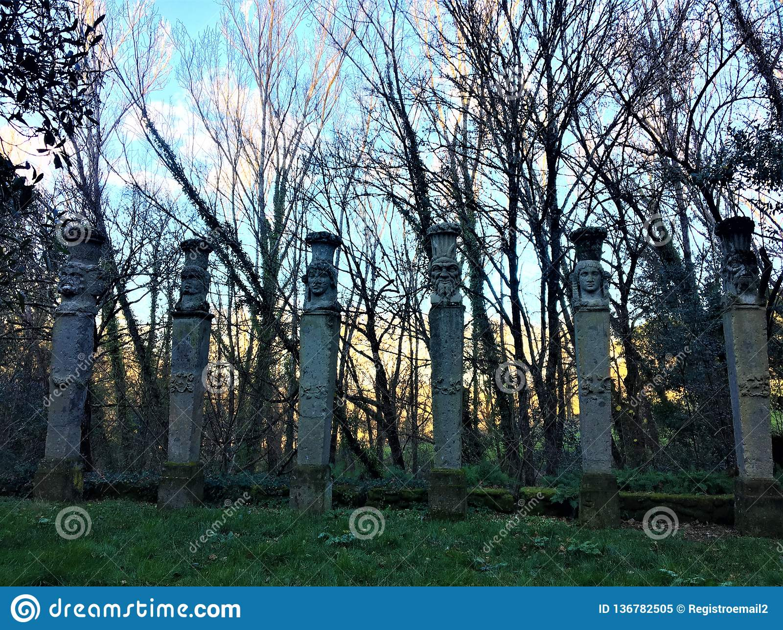 Park of the Monsters, Sacred Grove, Garden of Bomarzo. Colonnade of Herms and alchemy