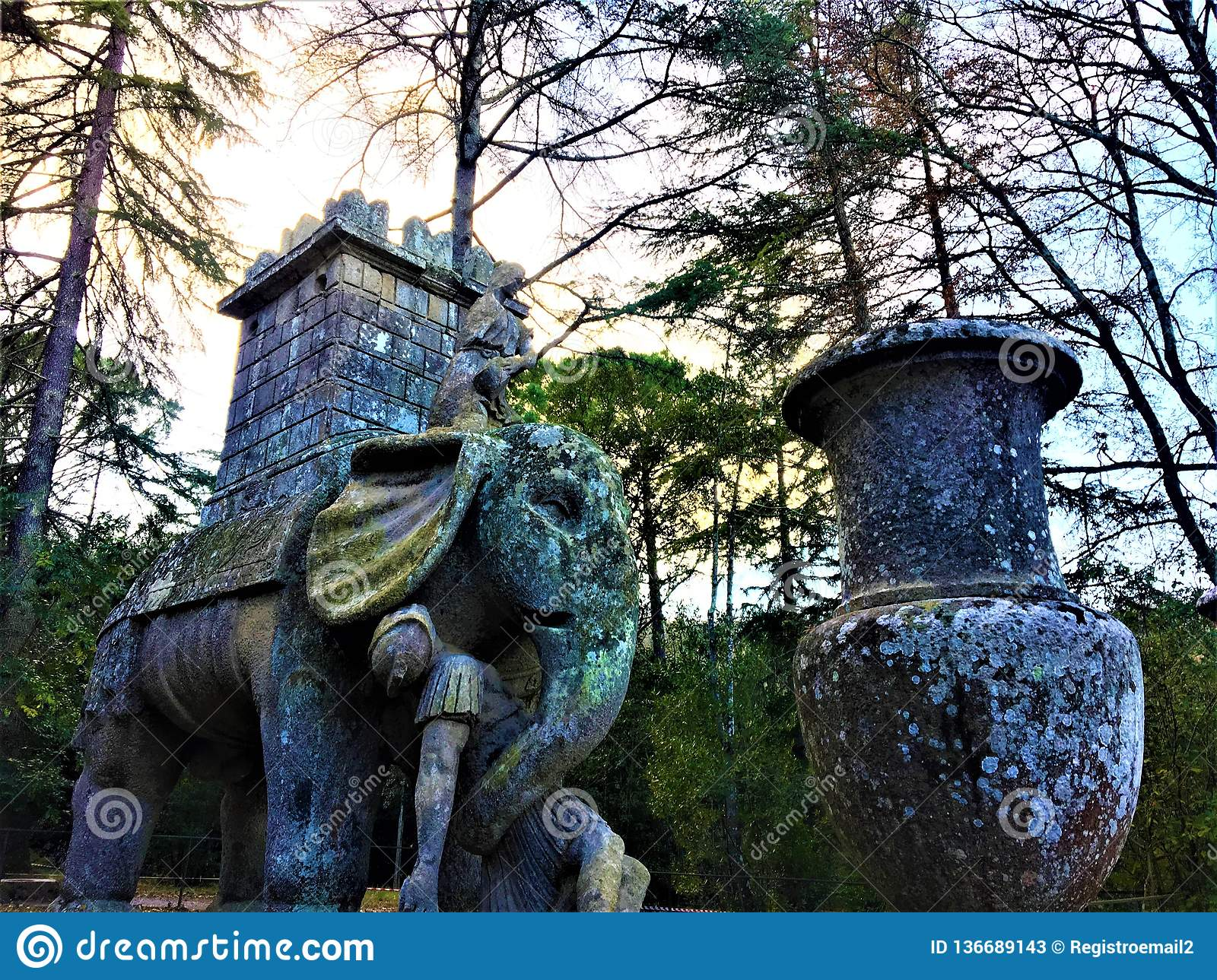 Park of the Monsters, Sacred Grove, Garden of Bomarzo. Hannibal`s elephant and alchemy