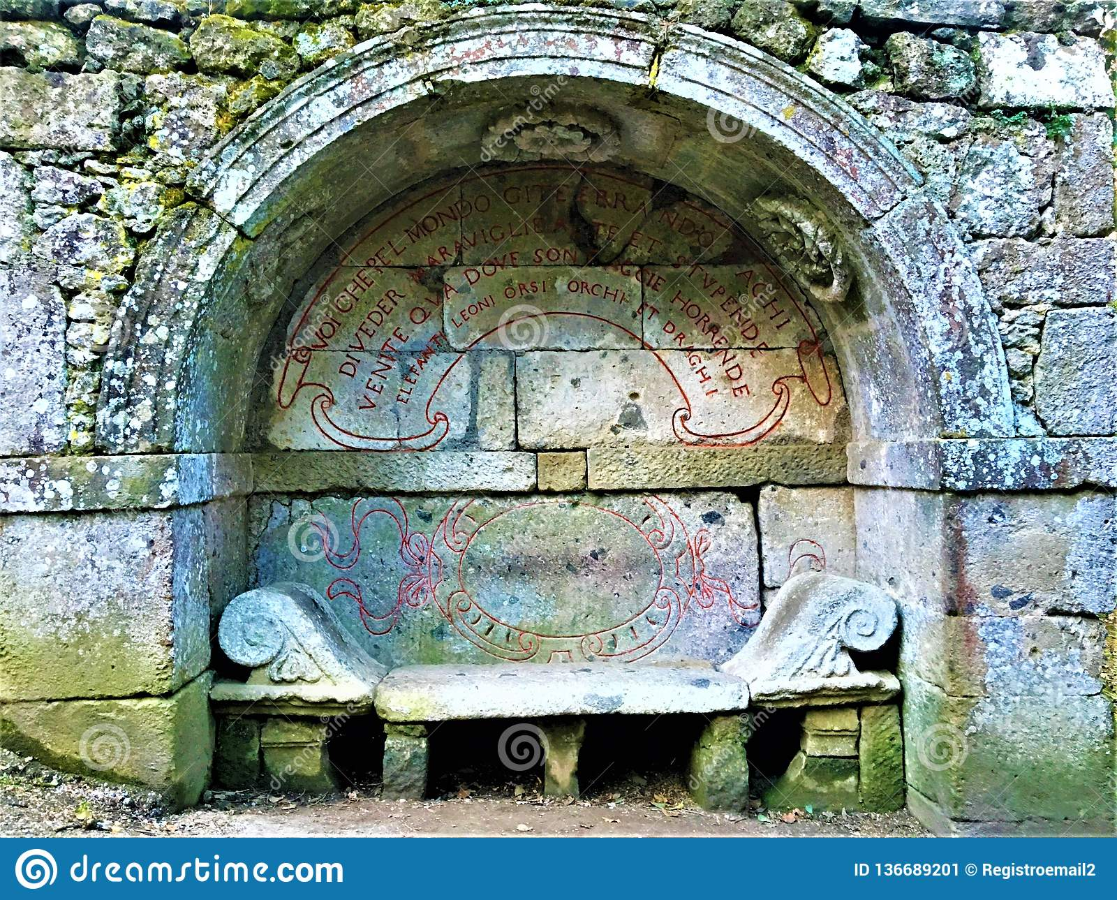 Park of the Monsters, Sacred Grove, Garden of Bomarzo. Etruscan bench and alchemy