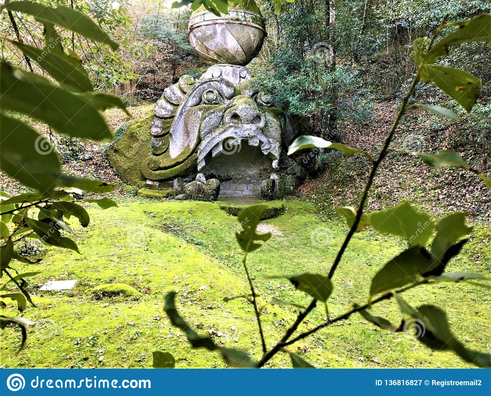 Park of the Monsters, Sacred Grove, Garden of Bomarzo. Proteus Glaucus and alchemy
