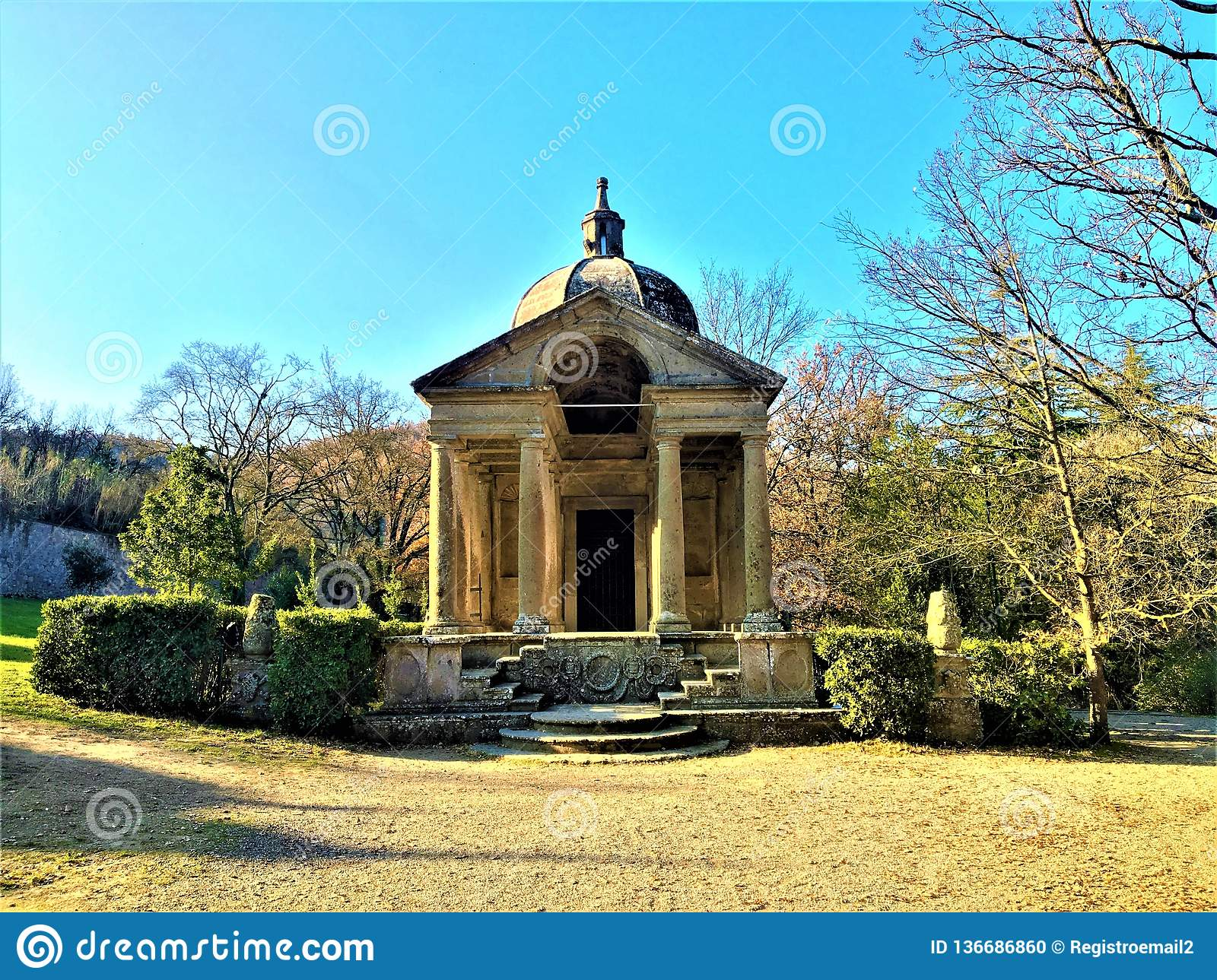 Park of the Monsters, Sacred Grove, Garden of Bomarzo. Temple of Eternity and alchemy