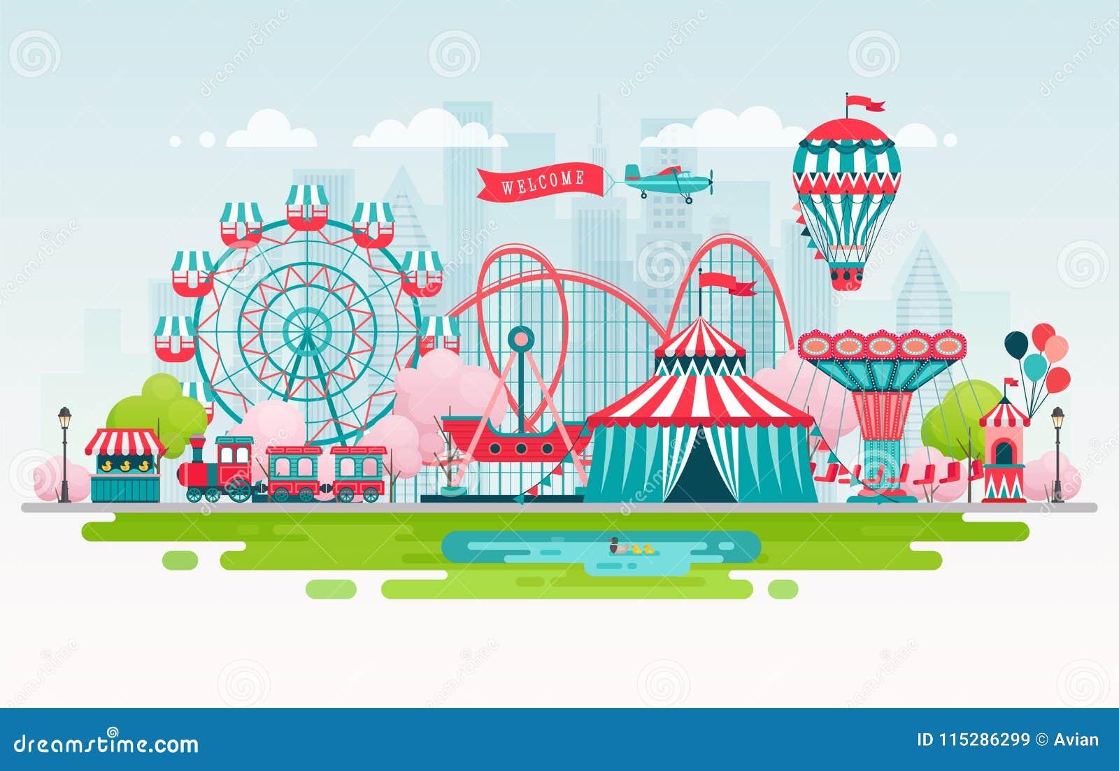 Park rozrywki, miastowy krajobraz z carousels, kolejka górska i lotniczy balon, Cyrkowy i Karnawałowy temat