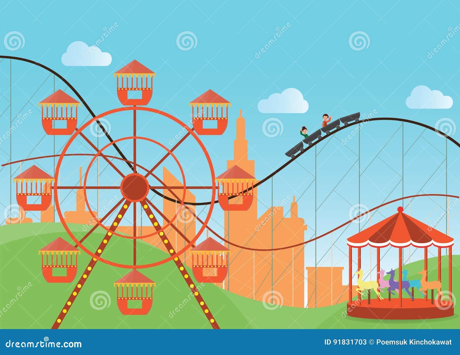 Park rozrywki w płaski kolorowym z Ferris kołem
