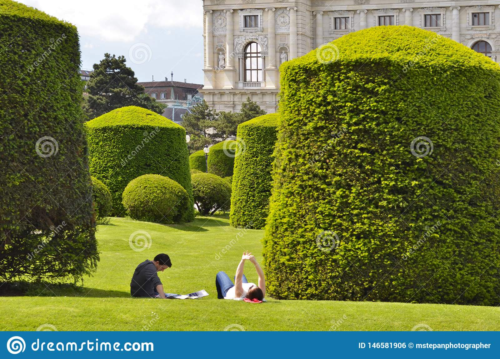 Park With Shaped Trees In Spring Vienna Austria Editorial Photo