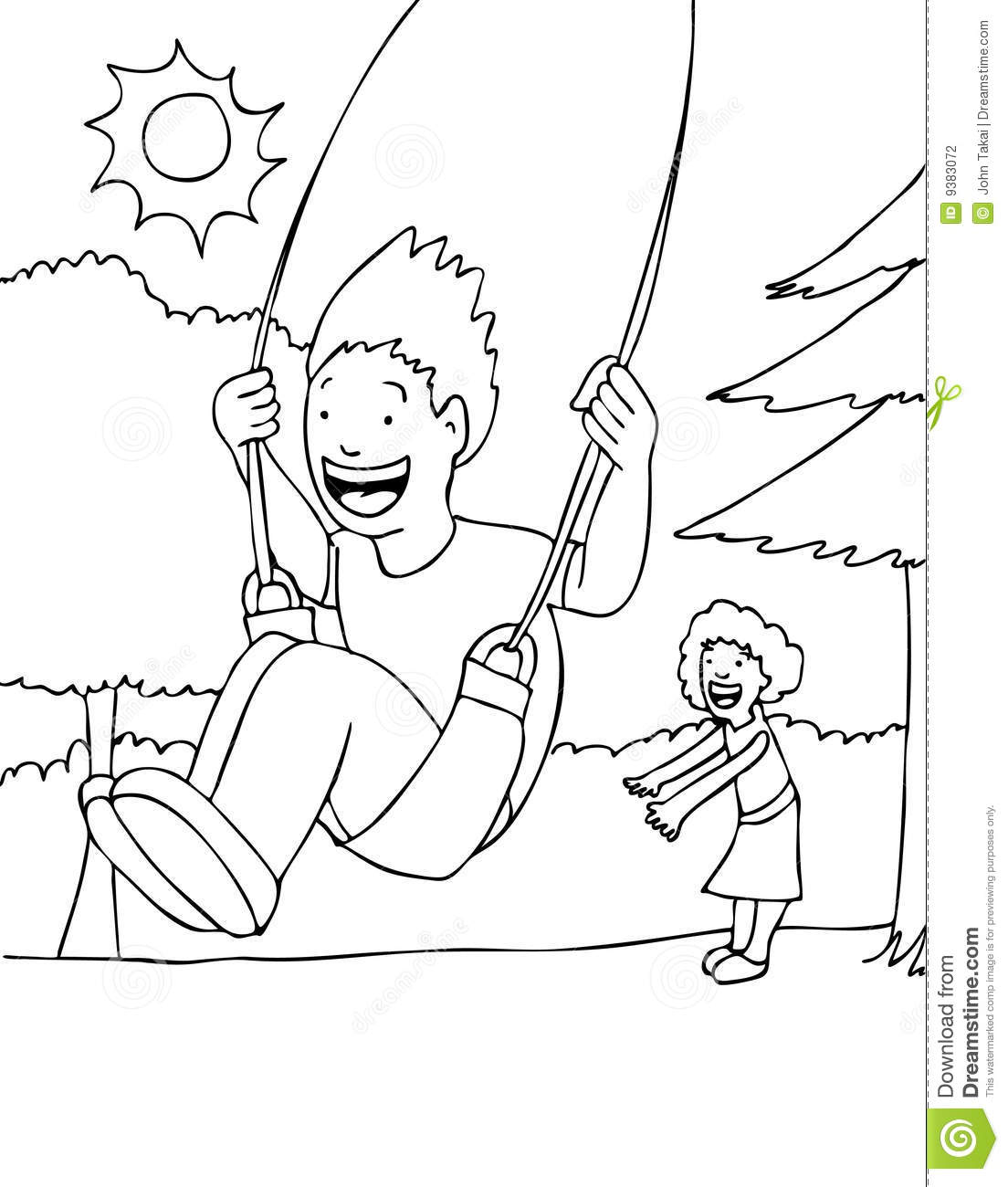 swing set coloring page - park swing black and white stock photography image