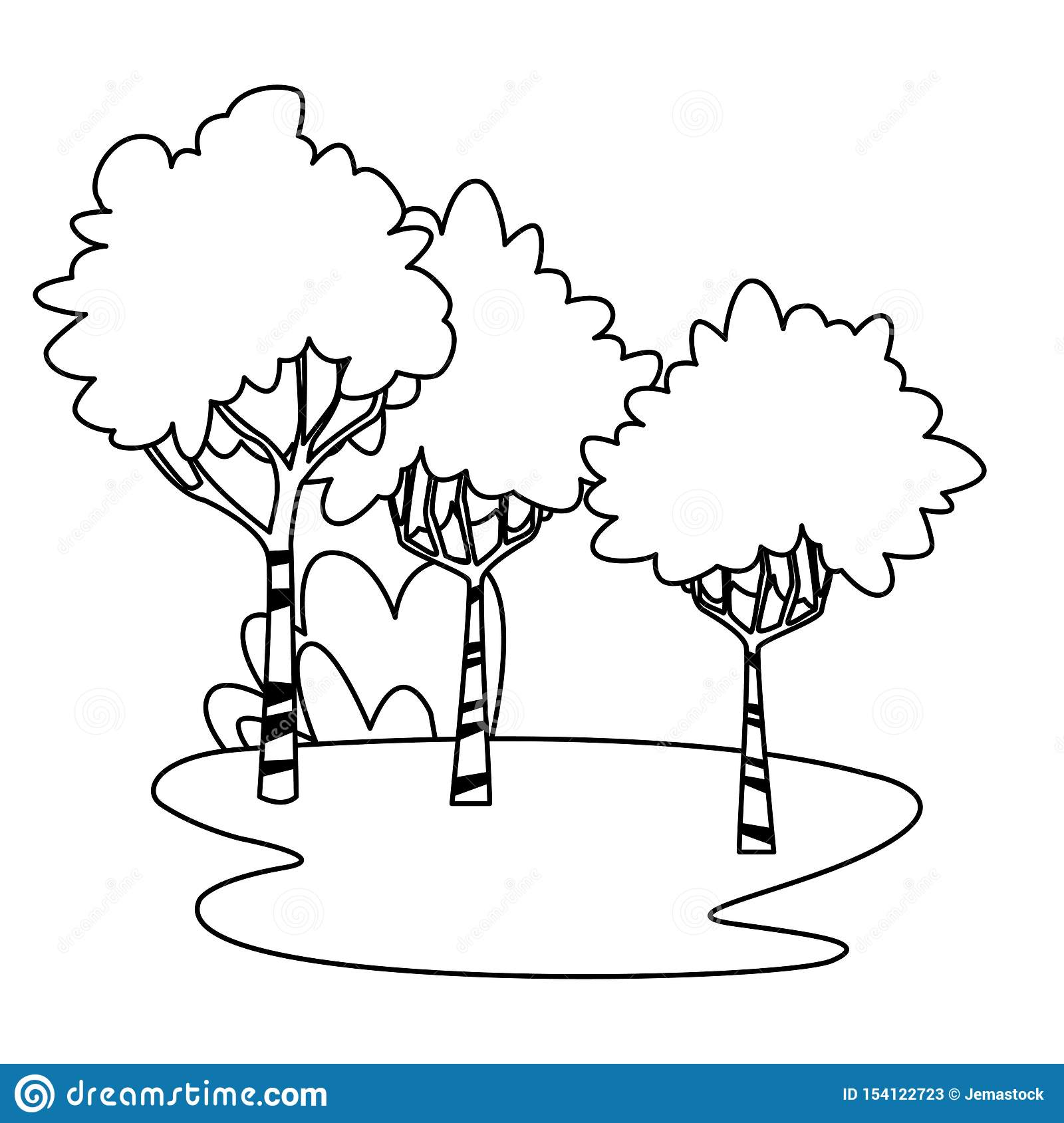 Park With Trees And Bushes Cartoon In Black And White Stock Vector Illustration Of Abstract Lush 154122723 Vector black tree isolated on white background. https www dreamstime com park trees bushes cartoon black white vector illustration graphic design image154122723