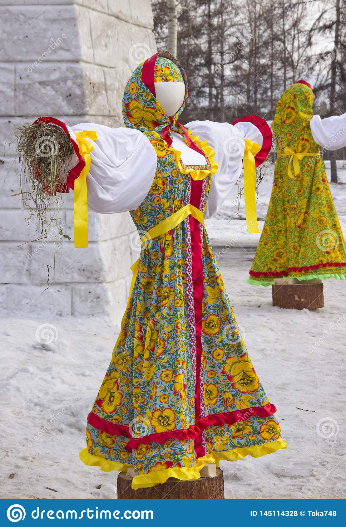 Stuffed in traditional Russian clothes