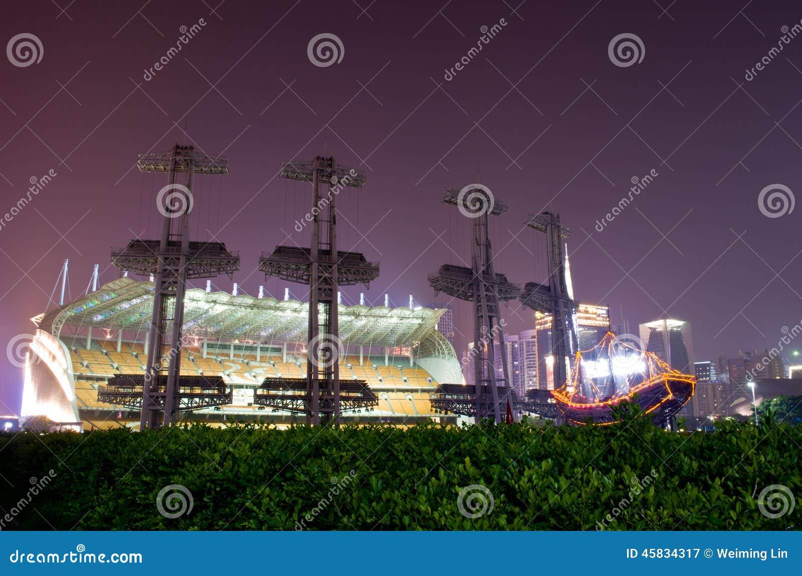 Park van de Spelen van Haixinsha het Aziatische bij nacht