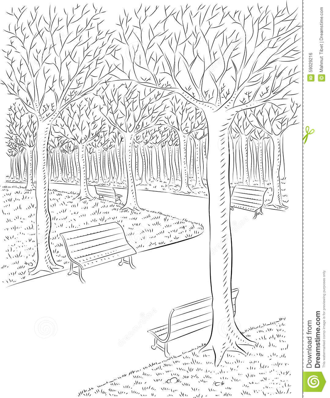 Line Art Design Illustration : Park stock vector image
