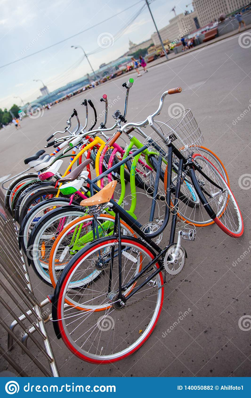 Parked multicolored road bikes