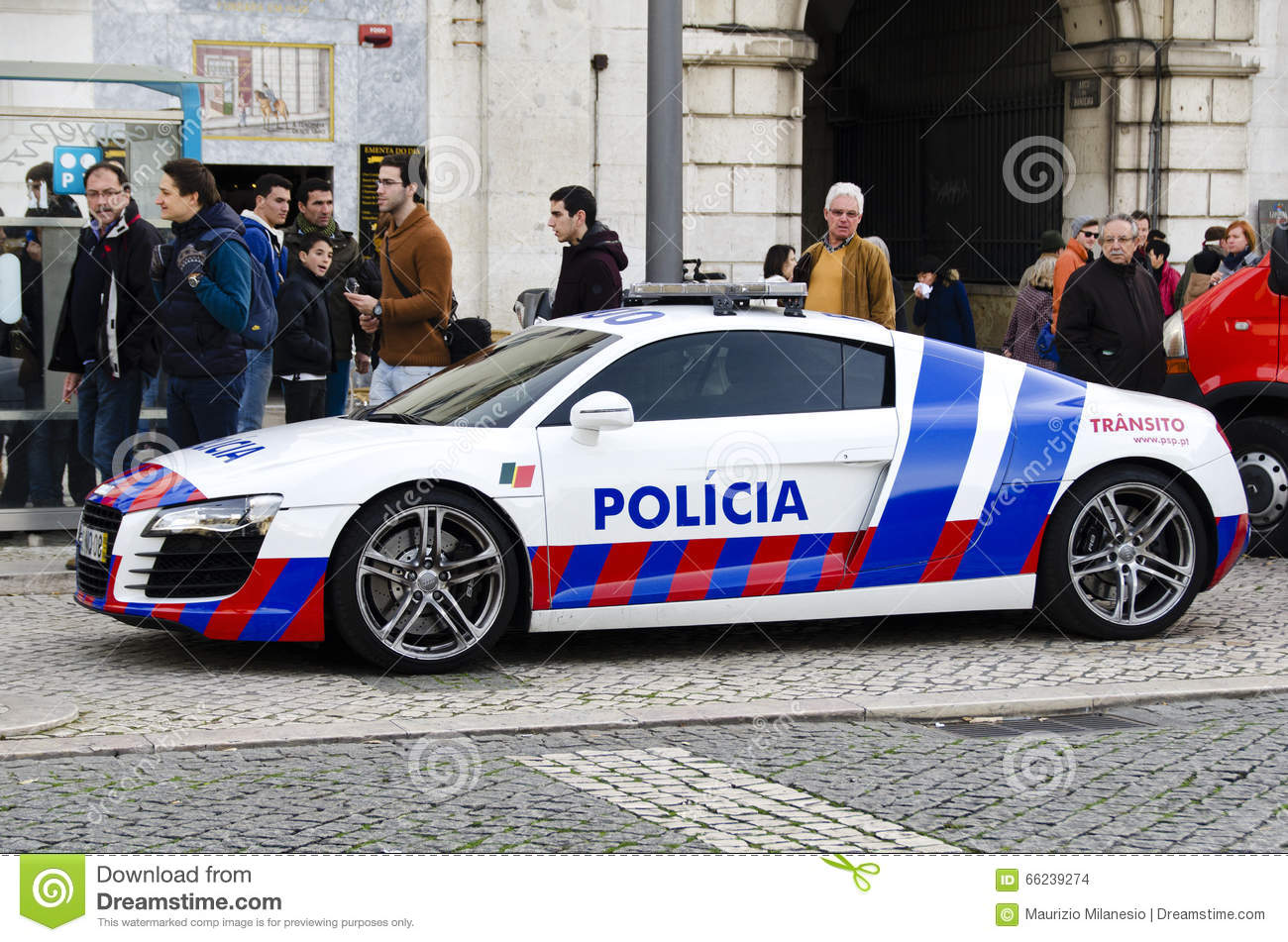 parked police car on a city street in lisbon portugal europe editorial stock image image of. Black Bedroom Furniture Sets. Home Design Ideas