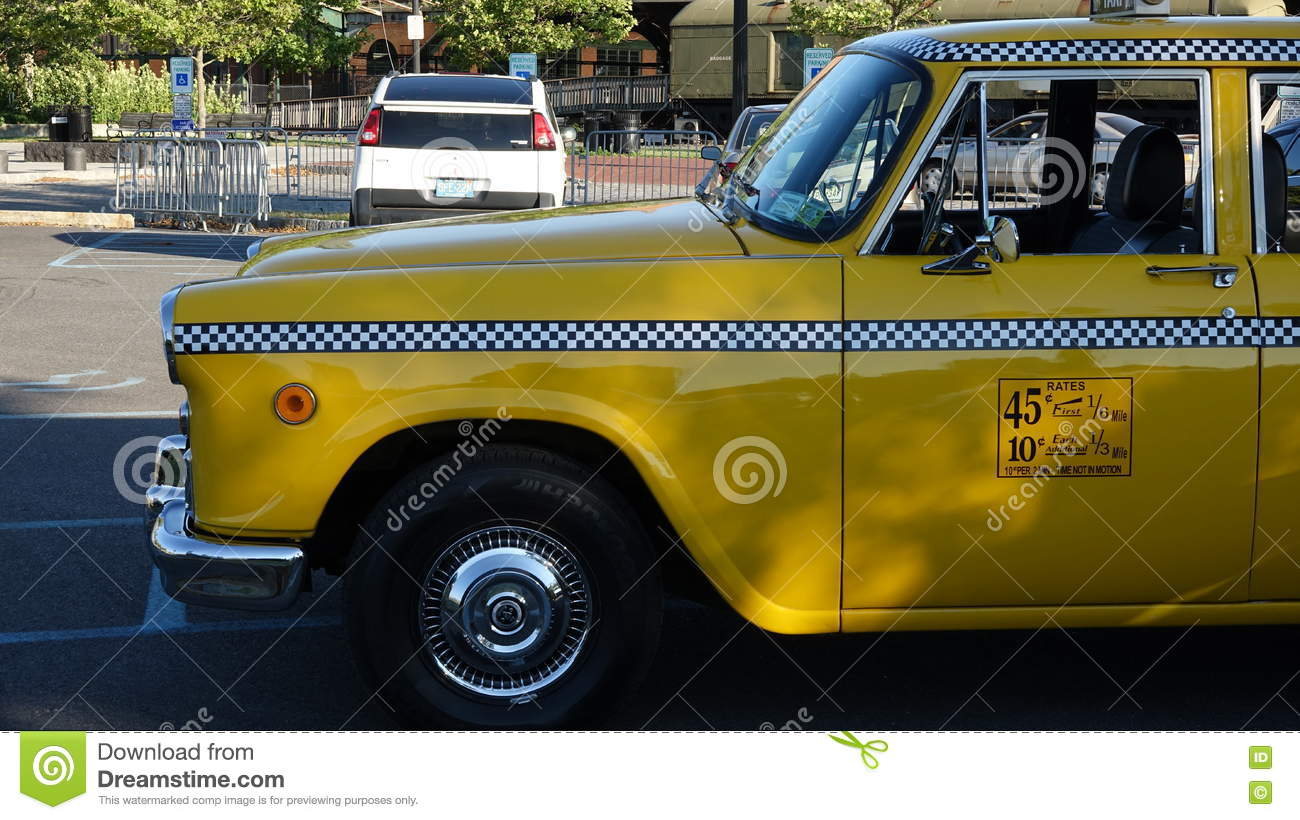 Parked Yellow Taxi Cab editorial stock image  Image of amber - 80999869