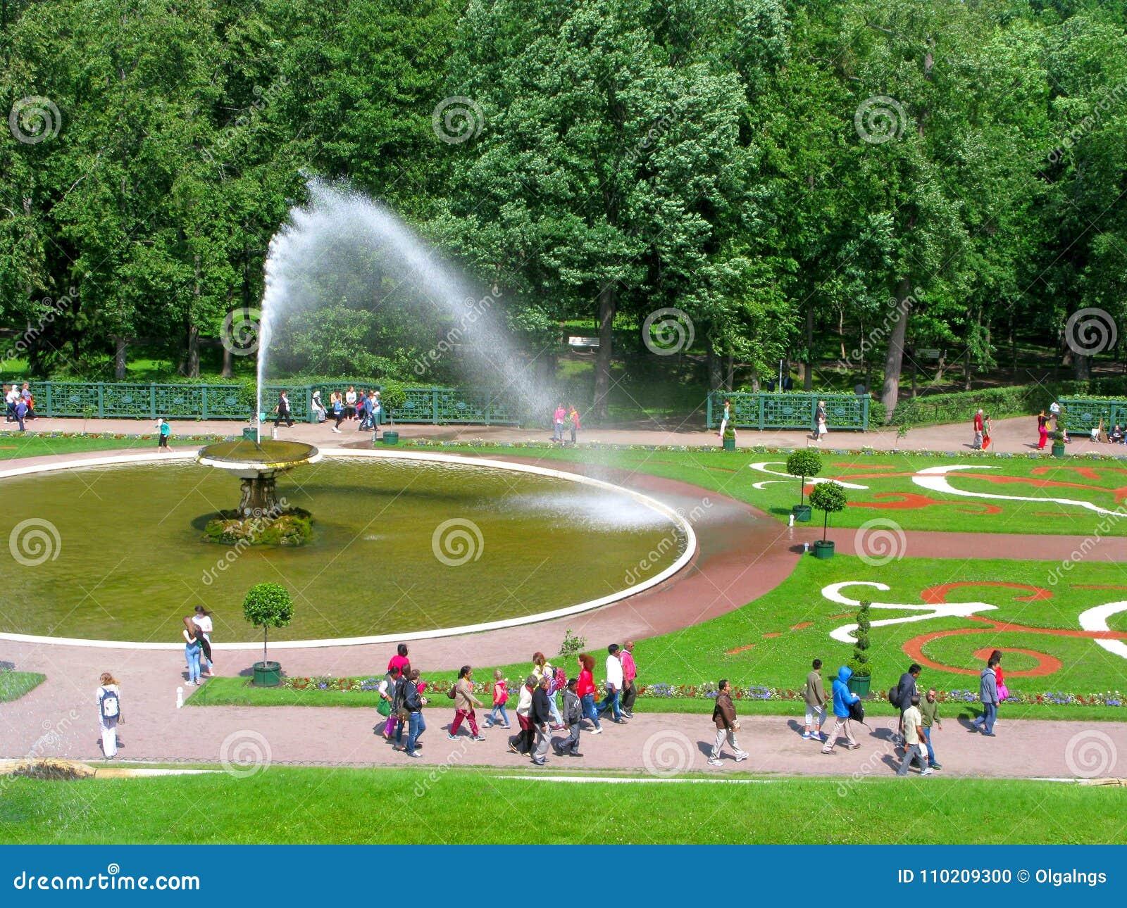 Parkera av Peterhof, Ryssland, springbrunnen Chasha, folk