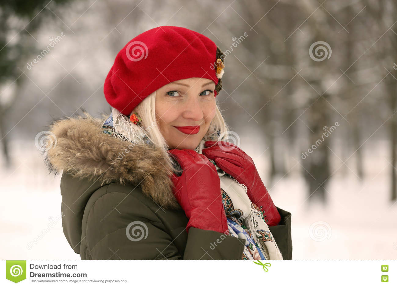 Parkera vinterkvinnan