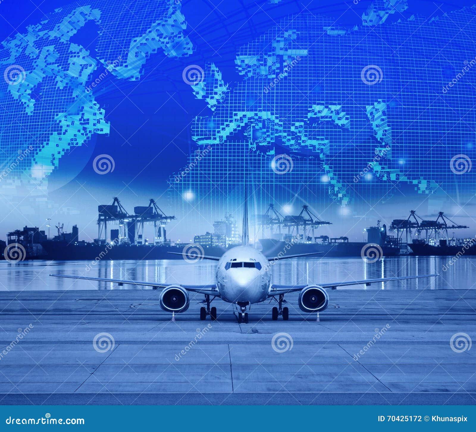 Parkering för lastnivå i flygplatslandningsbanor och sändningsport bakom